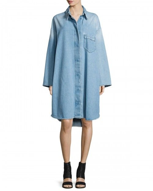 Mm6+Maison+Margiela+Denim+Button+Up+Shirtdress+Blue+42+|+Frock,+Dress+and+Clothing