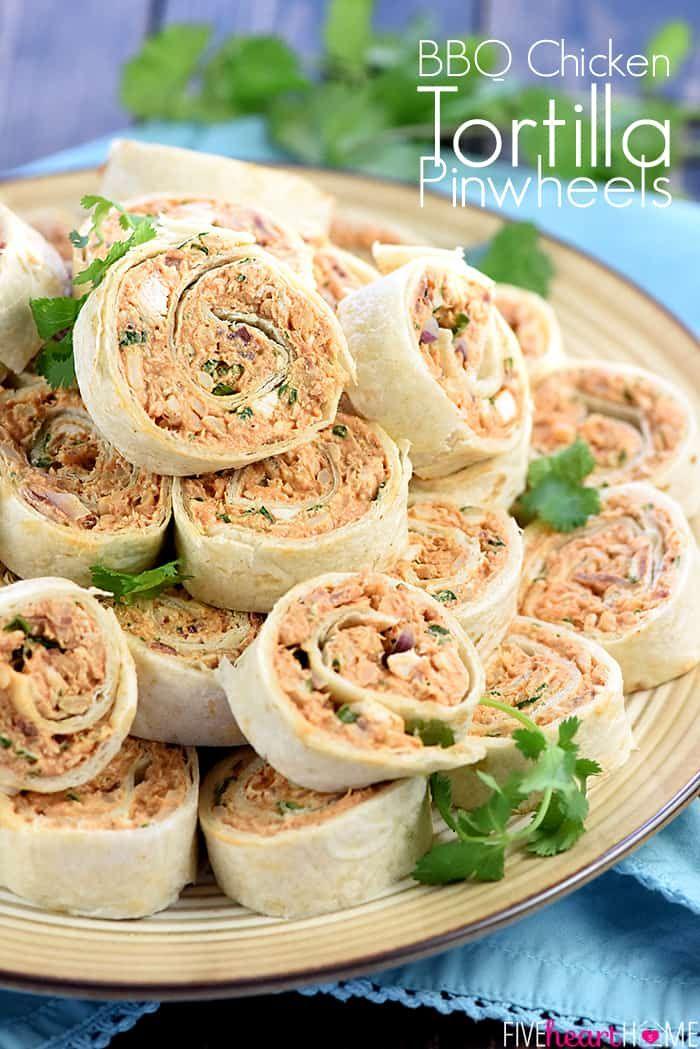 BBQ Chicken Tortilla Pinwheels ~ soft flour tortillas are slathered with a mixtu…