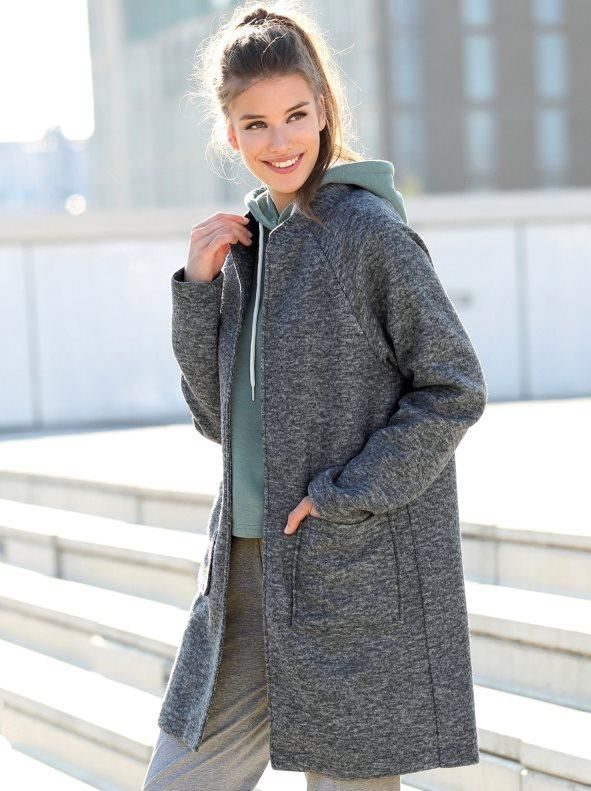 ac9a1137d66 Abrigo mujer de suave felpa con bolsillos de plastrón gris