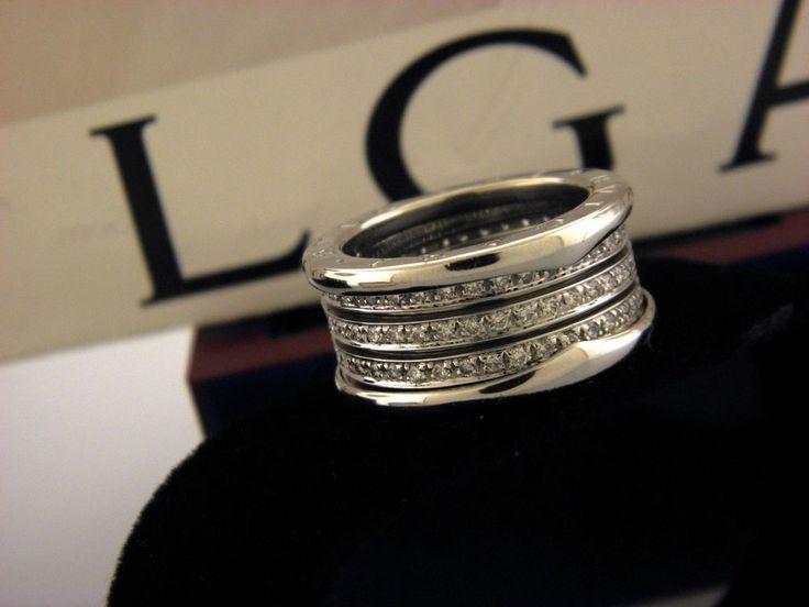bulgari bzero1 white gold 18kt four band pave diamond ring sz 55 us