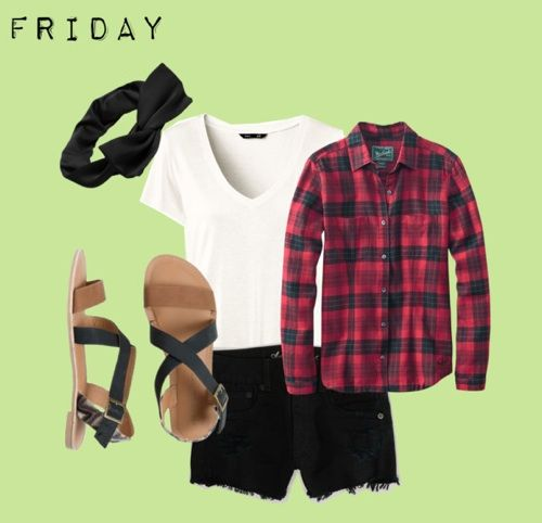 Glam up your plain white tee! Top it off with a flannel and add black lace shorts for a pretty look that's bonfire-ready