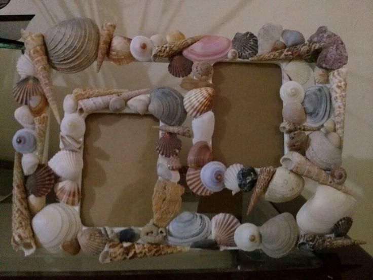 Marco con conchas de mar manualidades pinterest mars - Manualidades con conchas ...