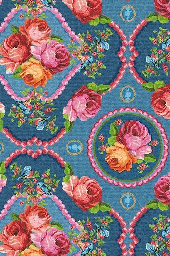 PiP Studio Singing Roses Blue wallpaper-looks like it's finely embroidered