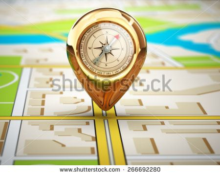 Navigation concept. Pin with compass on the city map. 3d - stock photo