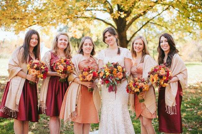 Beautiful bridesmaid dress colors for a rustic autumn wedding