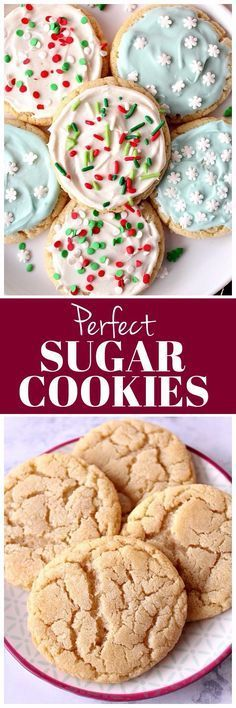 Perfect Sugar Cookies Recipe - the best chewy sugar cookies with vanilla cream cheese frosting and festive sprinkles!
