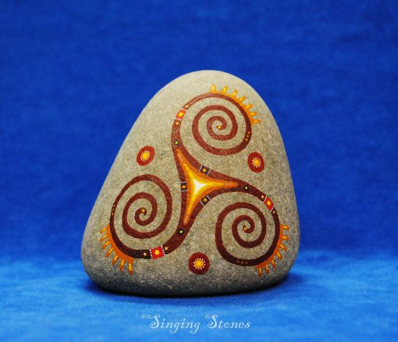 Triple spiral*Triskele*Hand painted stone*Powerful symbol*Triple Goddess*Unique gift*Altar stone*Sea rock*Something special*Home decor