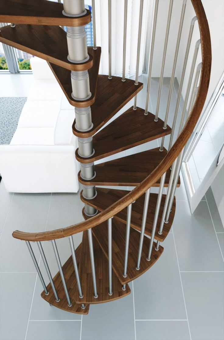 Best Gamia Argento Spiral Staircase With Wooden Handrail 400 x 300