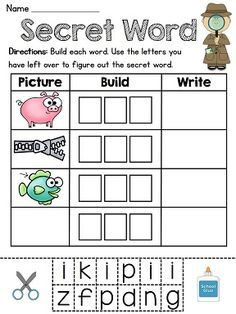 Secret word literacy center game! Most fun phonics worksheets ever and there is one for every first grade phonics sound! Build and write the words in the pictures and use the leftover letters to figure out the mystery word! Also comes in black and white f