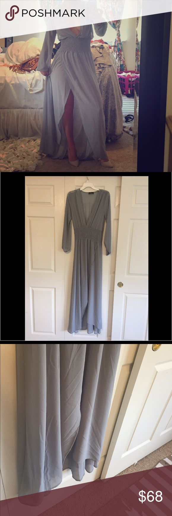 Amazing sheer night out dress! NWOT. Never worn! Super sexy dress from nasty gal! Color is a grey bluish color very pretty especially on vacation with a tan. No trades final sale! Nasty Gal Dresses Maxi
