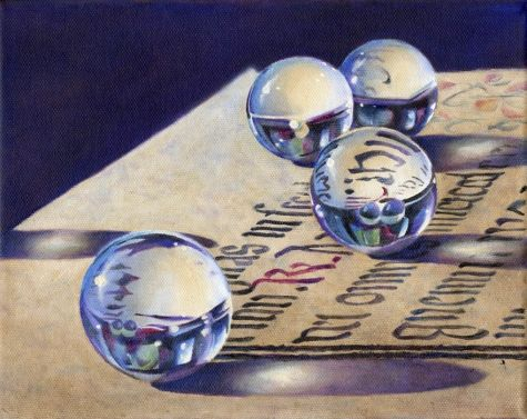 STRIVING FOR BALANCE oil still life painting, painting by artist Barbara Fox