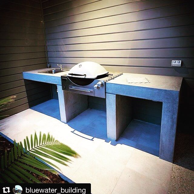 Love this outdoor kitchen! #backyardgoals #Repost @bluewater_building with an absolutely beautiful installed Weber Family Q Built In (Q3600AU). Follow the link in our bio to find out more! We recently finished this custom designed concrete alfresco benchtop to accommodate for an inbuilt Weber Q #bluewaterbuilding #custombuilder #custombuilding #southweststyle #southwest #dunsborough #designideas #design #architecture #homeideas #homeinspiration #homedesign #scyon #concrete…