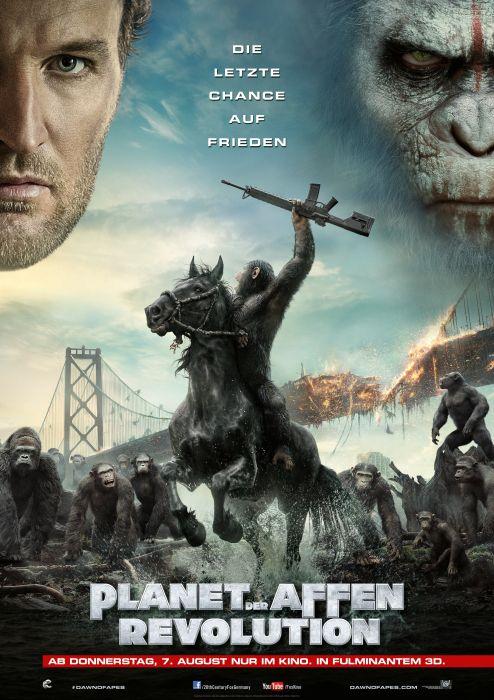 Planet der Affen: Revolution ist die Fortsetzung zu Planet der Affen: Prevolution. 10 Jahre nach dem Ausbruch des Virus, welches Affen intelligenter macht und Menschen tötet, kommt es zur Entscheidung.