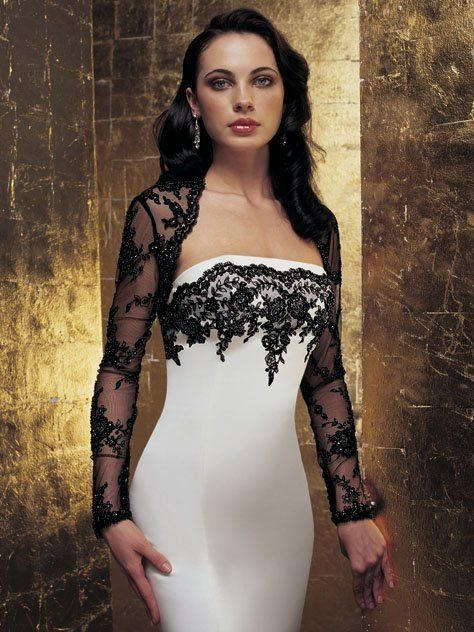 JAW174 New design lace appliqued trumpet black and white evening dresses with jacket