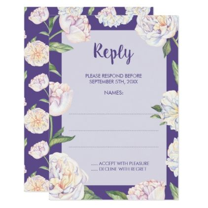 Peony Floral Violet Purple Wedding Reply Cards - spring wedding diy marriage customize personalize couple idea individuel