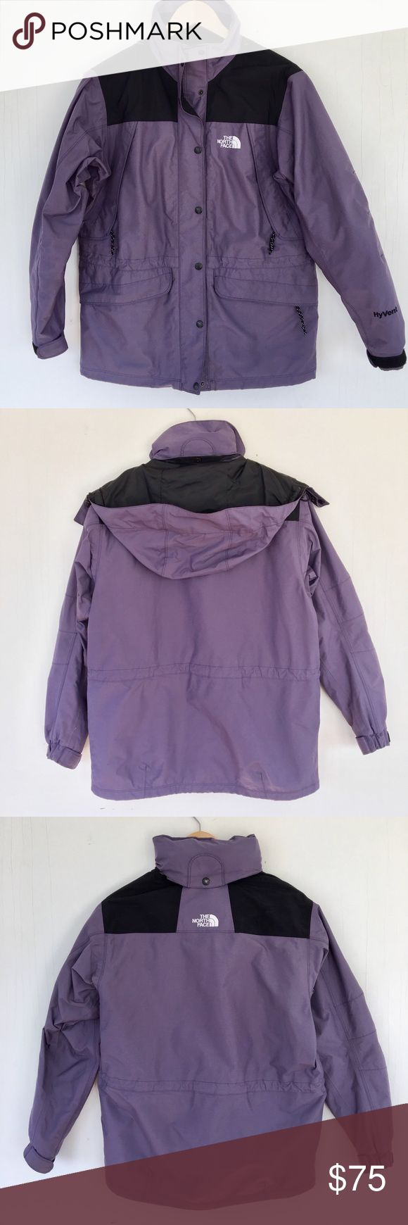 The North Face shell Waterproof jacket in an understated lavender shade. Includes mesh lining, waterproof/windproof/breathable dryvent shell, exposed center front zip, hem cinch cord, elastic bound cuffs, and media compatible secure pockets. Hood can snapped into collar. This jacket is in excellent condition, however there is one tiny puncture on sleeve, pictured. Size medium, pictured on a small. The North Face Jackets & Coats Utility Jackets