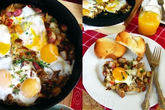 Skillet Eggs with Potatoes and Mushrooms | Foodie | Pinterest