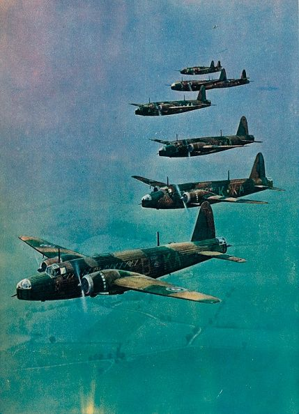 Wellington Bombers in Formation 1940. The Vickers Wellington was a British twinengined long range medium bomber designed in the mid1930s and widely used as a night bomber in the early years of WW2.