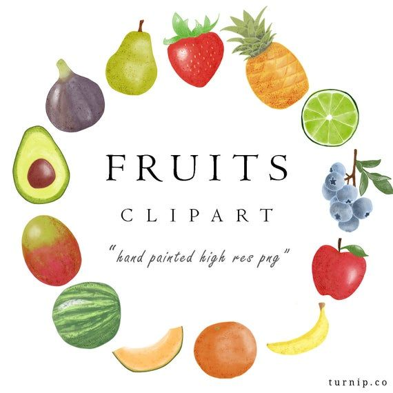Watercolor Fruit Clipart Png Download Pineapple Avocado Etsy In 2021 Fruit Clipart Watercolor Fruit Clip Art
