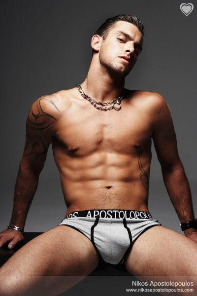 Nikos Apostolopoulos in an underwear ad