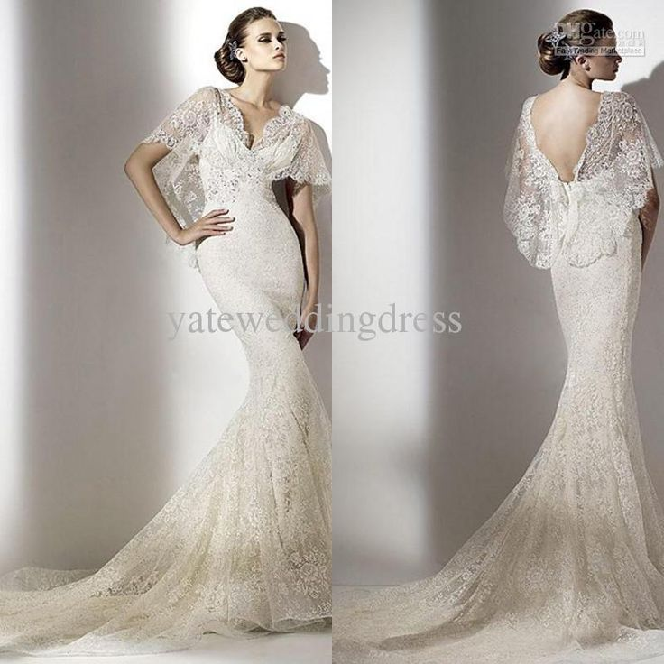 Wholesale 2013 Sexy New Design V Neck Ivory Lace Short Sleeve Backless  Garden Wedding Saudi Arabian Wedding Dress Wedding Dress, Free Shippi.