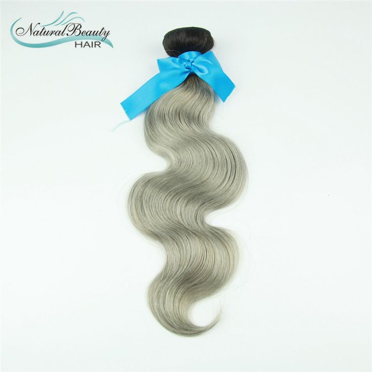 best quality ombre brazilian hair dark root ombre grey hair brazilian silver body wave hair weaving on Sale