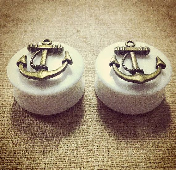 Gold Anchor Ear Plugs #bodyjewelry #plugs #tunnels #eartunnels #piercings