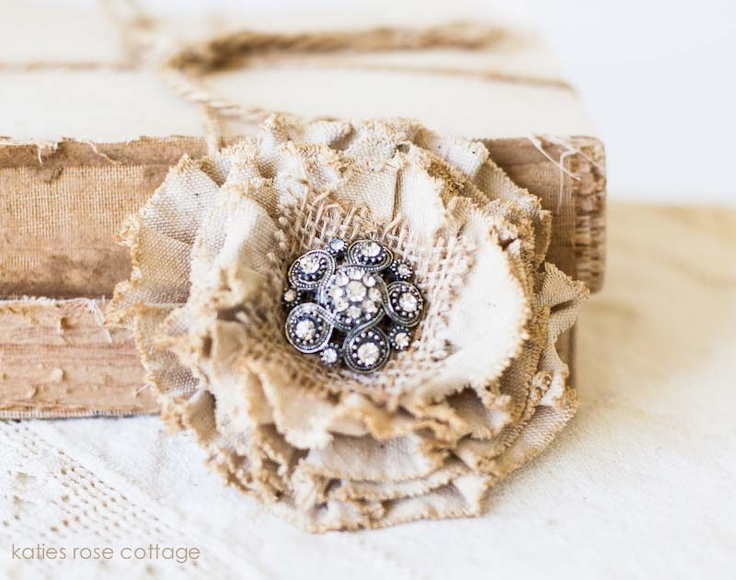 Tea Dyed Tattered Rose Pin with Jewel