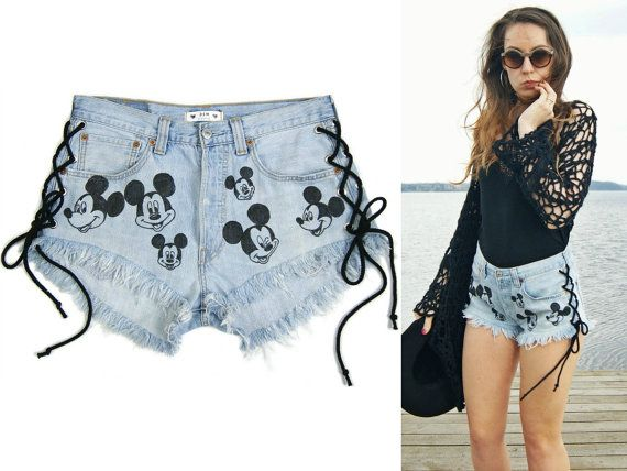 Lace up Mickey Mouse High waisted denim shorts vintage by DSMjeans
