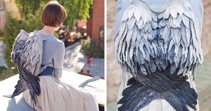 Volha Kotova ako Orange Cat vyrába originálne plstené ruksaky, ktoré vyzerajú ako anjelské či vtáčie krídla. Handmade batohy, vaky z Bieloruska.