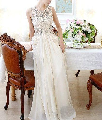 Elegant Vintage Flower Lace wedding dress lace wedding dress prom dress evening dress. $268.00, via Etsy.