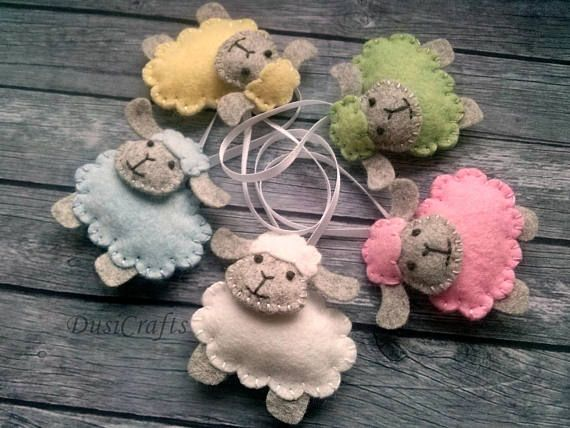 Easter decorations - Sheep Lamb wool felt ornament/ pastel color green yellow blue white pink gray sheep / choise of color - 1 ornament Listing is for 1 ornament Handmade from wool blend felt and cotton thread. This item is made to order Size/Dimensions/Weight Size of sheep is