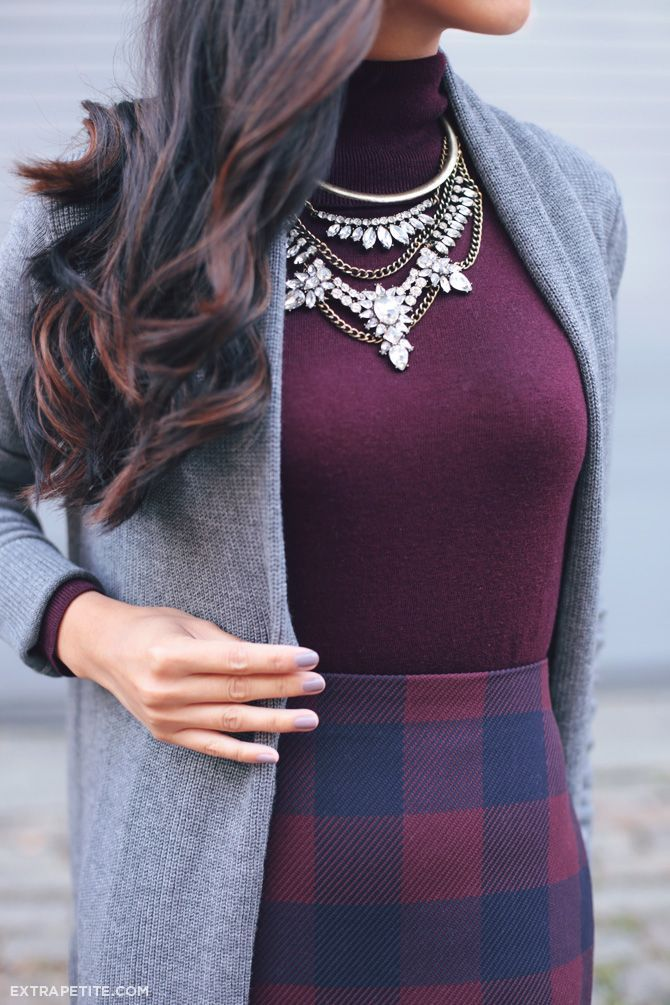 ExtraPetite.com - Fall hues: Plum, navy   grey at work