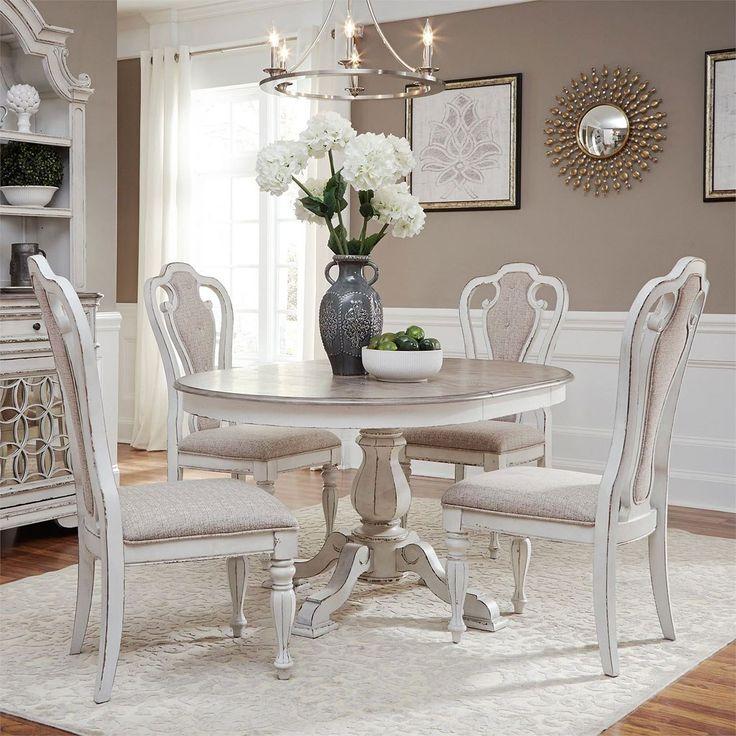 Magnolia Manor Pedestal Dining Set W Splat Back Chairs
