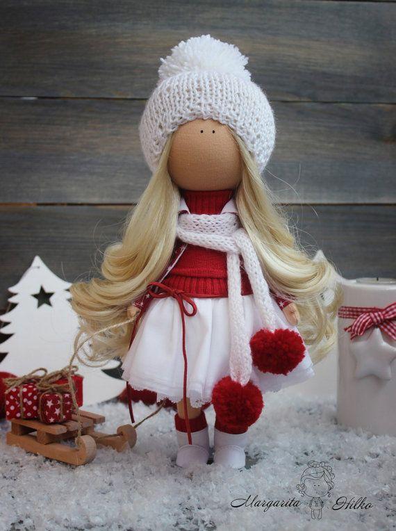 Decor doll handmade white red christmas doll by AnnKirillartPlace