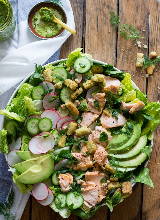 Salmon, Avocado, and Cucumber Salad with Cilantro Dressing - flavor packed healthy salmon salad with spring vegetables and cilantro dressing. Lunch or dinner all in one! | littlebroken.com @littlebroken