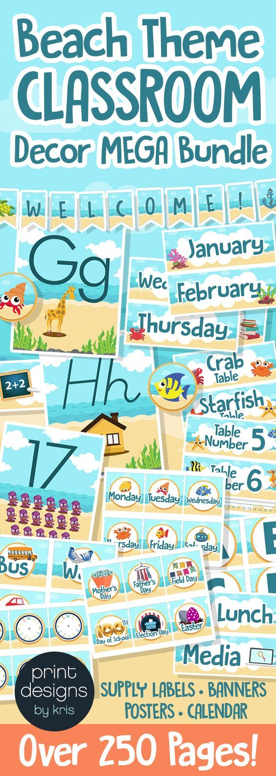 This is the mega bundle of elementary school classroom decor in a Beach Theme! Over 250 PAGES of decor options including calendar, alphabet posters, name plates, supply labels, banners and more!