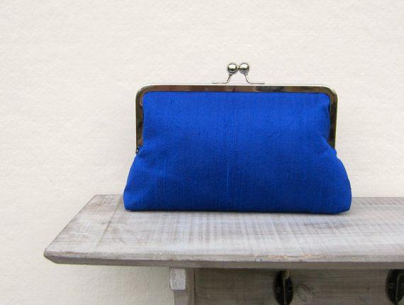 Royal blue bridal clutch bag, wedding clutch, royal blue bridesmaid clutch, silk evening clutch, clutch purse, electric blue clutch bag on Etsy, £31.80