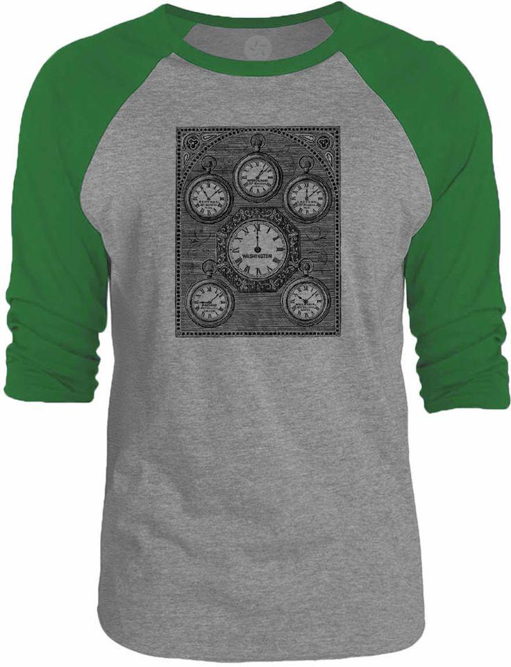 Big Texas Antique International Clock 3/4-Sleeve Raglan Baseball T-Shirt