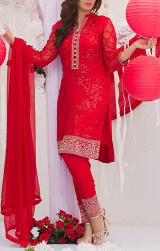 Buy Red Embroidered Chiffon Dress by Maria Ahsan 2016
