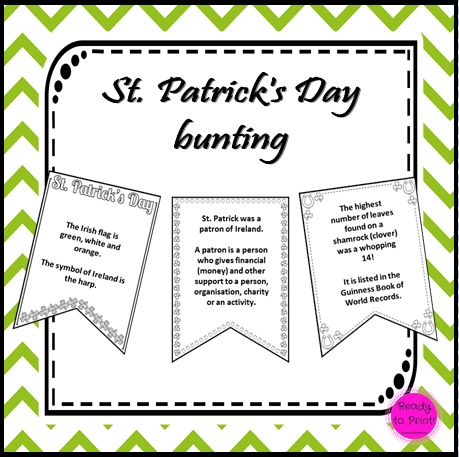 This set contains:· 18 A5 bunting flags· Each flag has a different fact about Saint Patrick's Day, Ireland, Shamrocks or Leprechaun's· A comprehension activity based on the bunting Ideas for use:·...