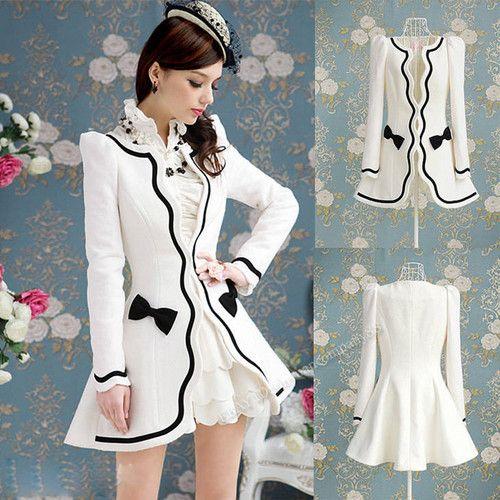 Women's autumn sweet Fashion Slim puff sleeves White Wool Coat Jacket Suit C18