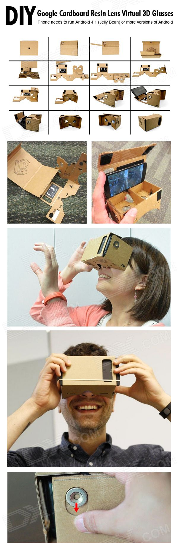 "NEJE ZB02 DIY Google Cardboard + Resin Lens Virtual 3D Glasses w/ NFC for 4~7"" Cellphones - Brown - Free Shipping - DealExtreme"
