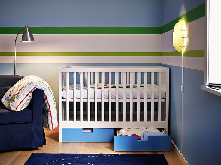 Modify like this for boys room: One wall navy, stripes going around orange, navy, green