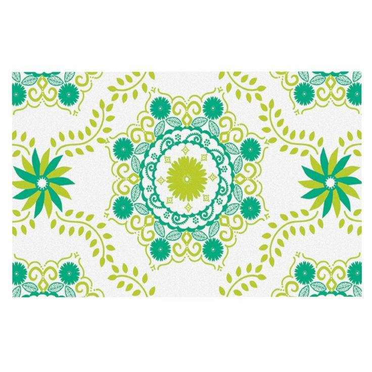 "Anneline Sophia ""Let's Dance Green"" Teal Floral Decorative Door Mat"