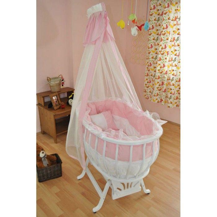 Beyaz Pembe Ahşap Kız Bebek Beşiği