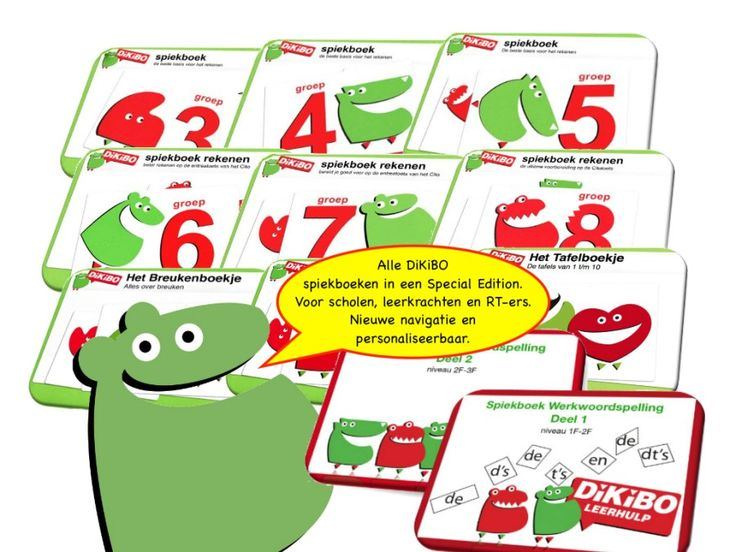 Alle DiKiBO spiekboeken rekenen en werkwoordspelling in een Special Edition. Voor scholen, leerkrachten en RT-ers. Nieuwe navigatie en personaliseerbaar.