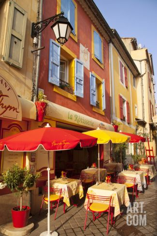 Colorful Cafe and Street Scene in Greoux-Les-Bains, Provence, France