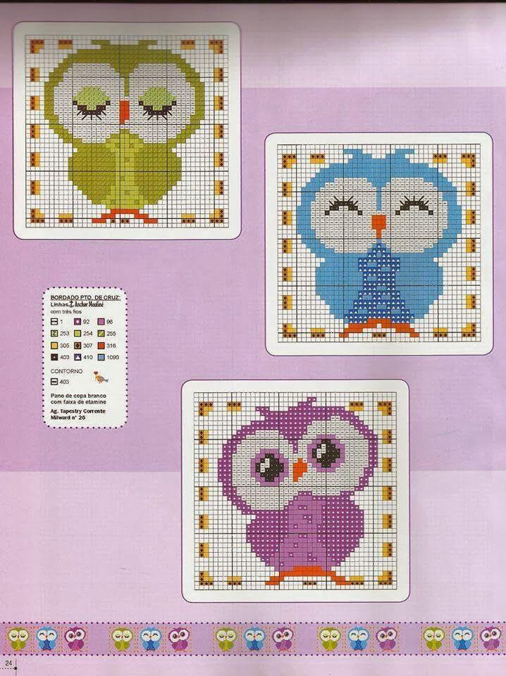 owls-hiboux-cross stitch-point de croix-embroidery                              …