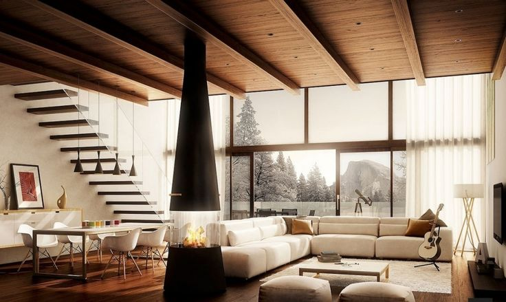 Дизайн уютных гостиных комнат - Дерево